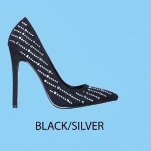 NIB Black & Silver Heels w/ Embellish Rhinestone